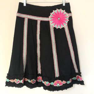 Nanette Lapore Embroidered Flower Mirrored Skirt